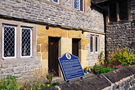almshouse: Bakewell, UK - September 7, 2014 - Front view of St Johns Hospital - Bakewell Almshouses, Bakewell, Derbyshire, England, UK, Western Europe.