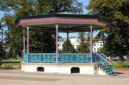 gloucestershire: View of the bandstand in the Imperial Gardens during the Summer, Cheltenham, Gloucestershire, England, UK, Western Europe