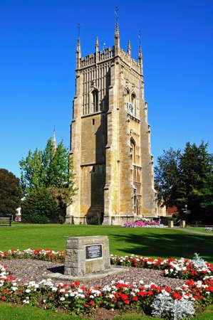 worcestershire: Evesham, UK - September 8, 2014 - Abbey clock in Abbey Gardens, Evesham, Worcestershire, England, UK, Western Europe.