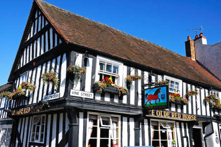 ye: Evesham, UK - September 8, 2014 - The timber framed Ye Olde Red Horse Pub along Vine Street in the town centre, Evesham, Worcestershire, England, UK, Western Europe. Editorial