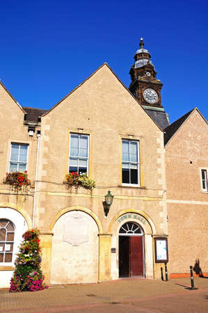 worcestershire: Evesham, UK - September 8, 2014 - View of the Town Hall with it?s interesting clock tower, Evesham, Worcestershire, England, UK, Western Europe. Editorial