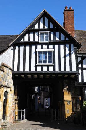 worcestershire: Evesham, UK - September 8, 2014 - The timber framed Church House with walkway, Evesham, Worcestershire, England, UK, Western Europe. Editorial