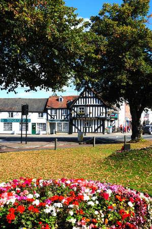 worcestershire: Evesham, UK - September 8, 2014 - Flowerbed with Ye Olde Red Horse pub to the rear, Evesham, Worcestershire, England, UK, Western Europe.