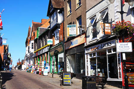 worcestershire: Evesham, UK - September 8, 2014 - Shops along Bridge Street in the town centre, Evesham, Worcestershire, England, UK, Western Europe. Editorial