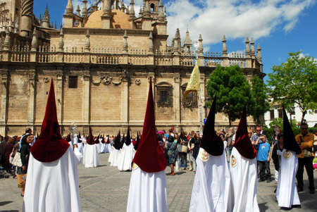 holy week in seville: Seville, Spain - April 7, 2009 - Santa Semana (Holy week), members of the El Cerro brotherhood (from the Dolores Parish Church), religious festival, Seville, Seville Province, Andalucia, Spain.