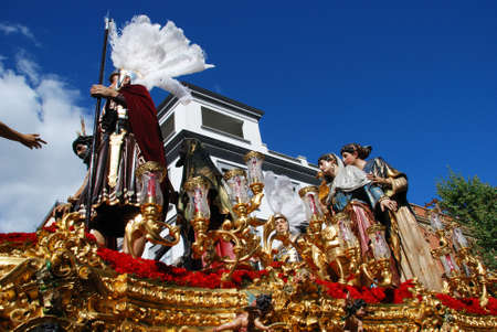 semana: Seville, Spain - April 7, 2009 - San Benito brotherhood float moving through the city streets during Santa Semama, Seville, Seville Province, Andalusia, Spain, Western Europe.