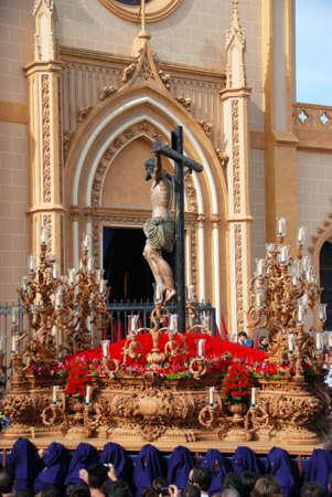 saint paul: Malaga, Spain, April 5, 2009 - Members of the Salud Brotherhood carrying the float with Christ from the San Pablo (Saint Paul) church during Santa Semana week, Malaga, Malaga Province, Andalusia, Spain, Western Europe.