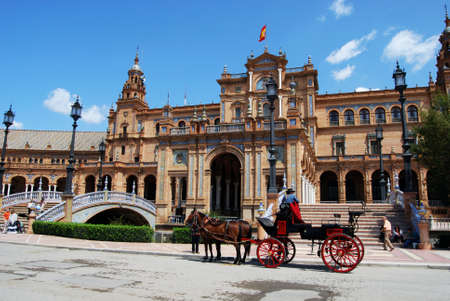 horse drawn: Seville, Spain - April 12, 2008 - Horse drawn carriage in the Plaza de Espana, Seville, Seville Province, Andalusia, Spain, Western Europe. Editorial