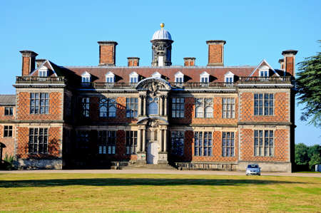 derbyshire: Front view of Sudbury Hall taken from the road, Sudbury, Derbyshire, England, UK, Western Europe.