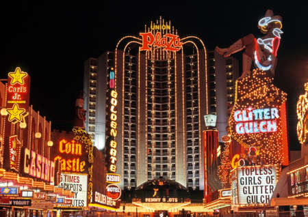 Union Plaza hotel and casino in the downtown district at night, Las Vegas, Nevada, USA.