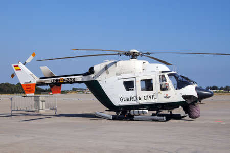 Guardia Civil Helicopter MBB BK 117 at the second airshow at Malaga airport, Malaga, Andalusia, Spain, Western Europe.