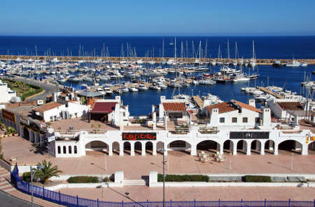 View of the harbour and watchtower, Roquetas de Mar, Almeria Province, Andalusia, Spain, Western Europe.
