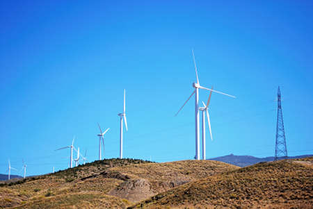 western europe: Wind generators on hillside in the Spanish countryside, Almeria; Almeria Province, Andalusia, Spain, Western Europe.
