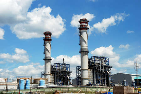 petrochemical: Petrochemical oil refinery chimney stacks, Puente Mayorga, Cadiz Province, Andalusia, Spain, Western Europe.
