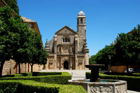 plateresque: The Sacred Chapel of El Salvador (Capilla del Salvador) and the Plaza de Vazquez de Molina with fountain in foreground, Ubeda, Jaen Province, Andalusia, Spain, Western Europe.