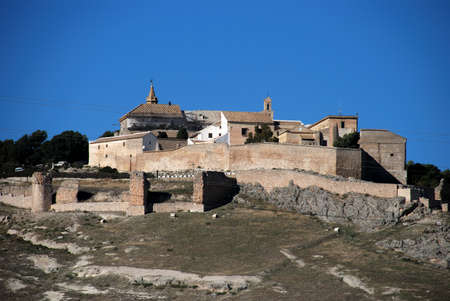 convento: View of the castle, church and convent (Iglesia y Convento de Santa Clara de Jesus) on the hillside, Estepa, Seville Province, Andalusia, Spain, Western Europe.