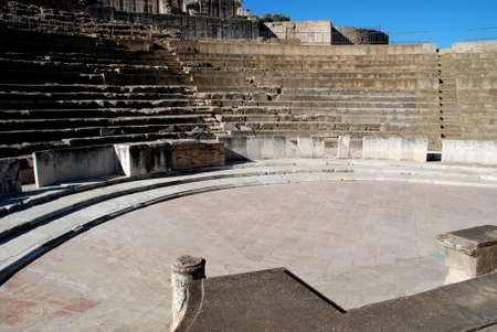 seating area: Stage and seating area at the Roman Theatre, Santiponce, Italica, Seville, Andalucia, Spain, Western Europe. Stock Photo