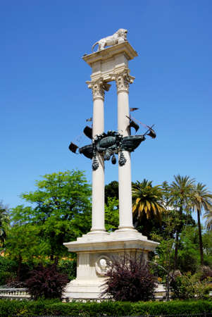 Christopher Columbus monument in the park (Paseo de Catalina de Riber), Seville, Seville Province, Andalusia, Spain, Western Europe.