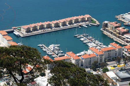elevated view: Elevated view yachts moored in the marina, Gibraltar, United Kingdom, Western Europe. Editorial