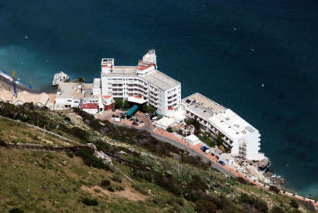 elevated view: Elevated view of a Hotel on the East side of the Rock alongside the Sea, Gibraltar, United Kingdom, Western Europe.