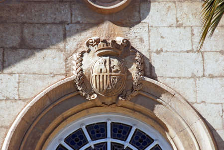 episcopal: Coat of arms on the Episcopal Palace, Almeria, Costa Almeria, Almeria Province, Andalusia, Spain, Western Europe.