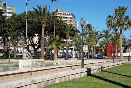 parque: Rower statuefountain in the Parque de Nicolas Salmeron, Almeria, Almeria Province, Andalusia, Spain, Western Europe.