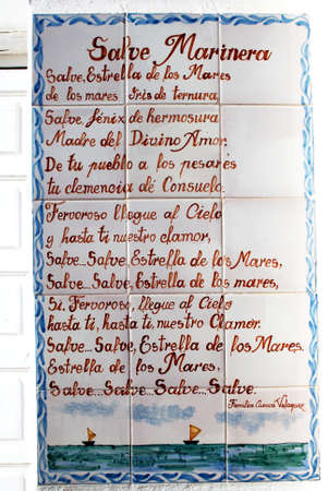 poem: Mariners poem painted onto ceramic tiles on the wall of the shrine, Almerimar, Almeria Province, Andalusia, Spain, Western Europe. Editorial
