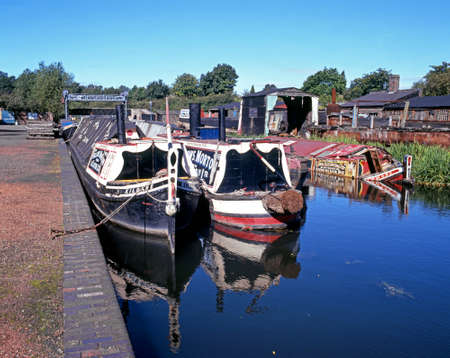 industrial heritage: Narrowboats on the canal at the Black Country Living Museum, Dudley, West Midlands, England, UK, Western Europe.