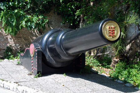 tonne: View of the 30 tonne gun, Gibraltar, United Kingdom, Western Europe.