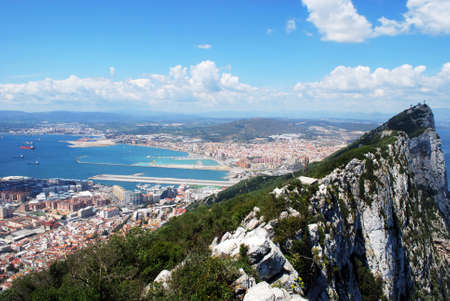 western europe: Elevated view of The Rock and Spanish coastline, Gibraltar, United Kingdom, Western Europe.