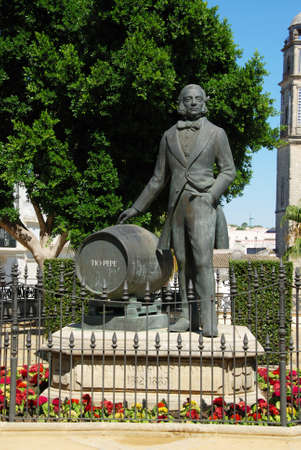 Statue of Manuel Maria Gonzalez Angel (Tio Pepe), Jerez de la Frontera, Cadiz Province, Andalusia, Spain, Western Europe. Editorial