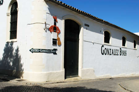 Gonzalez Byass Bodega building with a Tio Pepe sign on the wall, Jerez de la Frontera, Cadiz Province, Andalusia, Spain, Western Europe. Editorial
