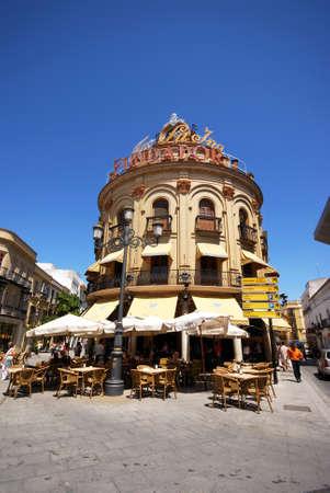azul: The Blue Rooster (El Gallo Azul) pavement cafe along Calle Lanceria in the city centre, Jerez de la Frontera, Cadiz Province, Andalusia, Spain, Western Europe.