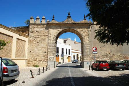 arroyo: View of the town gate (Puerta del Arroyo) leading into town, Jerez de la Frontera, Cadiz Province, Andalusia, Spain, Western Europe.