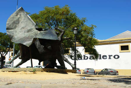 bull fighting: Caballero Bodega with bull fighting statue in the foreground, El Puerto de Santa Maria, Cadiz Province, Andalusia, Spain, Western Europe. Editorial
