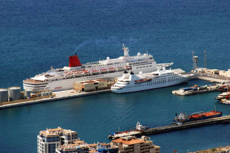 elevated view: Elevated view of cruise ships moored in the port, Gibraltar, United Kingdom, Western Europe.