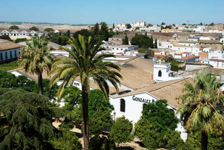 View over the Gonzalez Byass Bodegas with other bodegas to rear, Jerez de la Frontera, Cadiz Province, Andalusia, Spain, Western Europe.