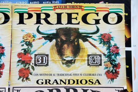bullfighting: Bullfighting poster, Priego de Cordoba, Cordoba Province, Andalusia, Spain, Western Europe.