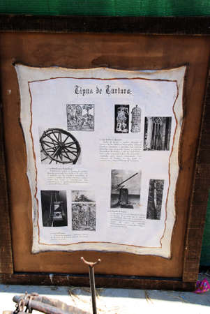 torture: Types of Medieval torture sign at the Medieval market, Barbate, Cadiz Province, Andalusia, Spain, Western Europe.