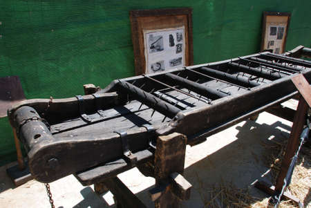 Medieval torture rack with spikes at the Medieval market, Barbate, Cadiz Province, Andalusia, Spain, Western Europe.