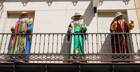 three kings: Lifesize models of the three kings (Los Reyes) on a balcony, Aguilar de la Frontera, Cordoba Province, Andalusia, Spain, Western Europe. Stock Photo