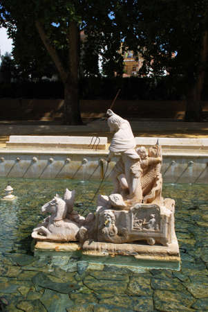 king neptune: Kings fountain (Fuente del Rey) with statue of Neptune, Priego de Cordoba, Cordoba Province, Andalusia, Spain, Western Europe.