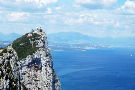elevated view: Elevated view of The Rock and Spanish coastline, Gibraltar, United Kingdom, Western Europe.