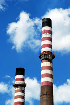 petrochemical: Petrochemical refinery chimney stacks, Puente Mayorga, Cadiz Province, Andalusia, Spain, Western Europe.