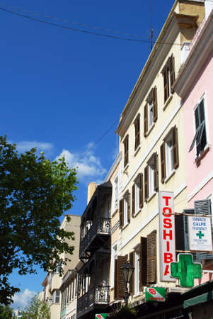 main street: Shop buildings along Main Street, Gibraltar, United Kingdom, Western Europe. Editorial