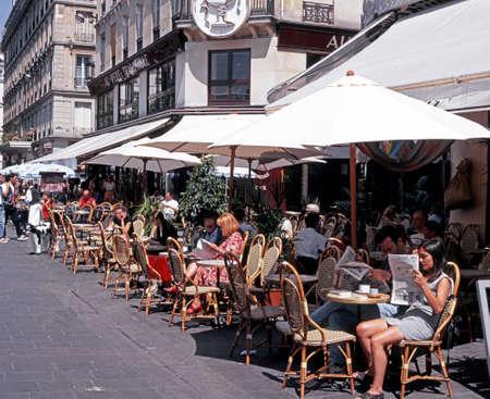 alfresco: Pavement Cafe along the Rue Piere Lescot at Les Halles in the city centre, Paris, France, Western Europe.
