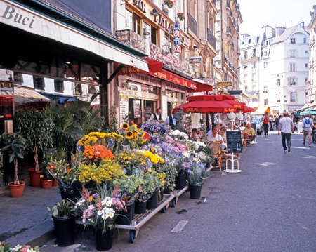 pres: Flower Market and pavement cafes in the St Germain de Pres district in the city centre, Paris, France, Western Europe.