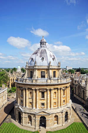 oxford: Elevated view of Radcliffe Camera and surrounding buildings, Oxford, Oxfordshire, England, UK, Western Europe. Editorial
