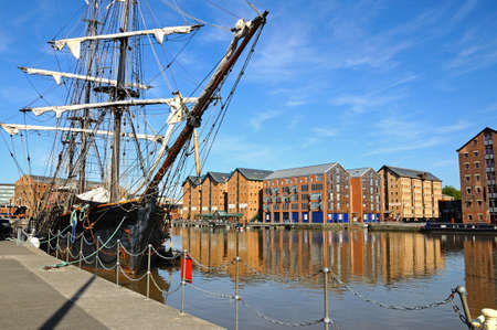 gloucestershire: Tall ship moored at Gloucester Docks, Gloucester, Gloucestershire, England, UK, Western Europe.