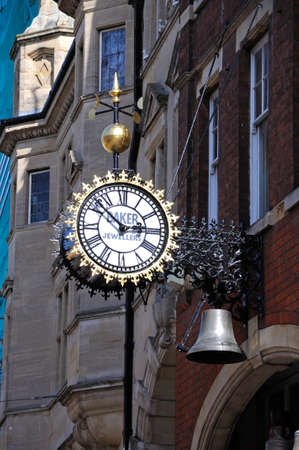 southgate: Bakers Jewellers clock along Southgate Street, Gloucester, Gloucestershire, England, UK, Western Europe.